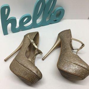 Qupid Women's Sparkle Gold T-Strap Platform Heels